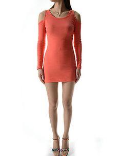 (WP01940-ORANGE) Womens Crew Neck Open Shoulder Long Sleeve Mini Dress