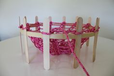 ... knitting dolly from an embroidery hoop to make net bag ... brilliant ... as seen at : my material life ...