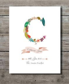 Birth Announcement Wall Art Personalized Print Floral with Choice of Color - PRINTABLE