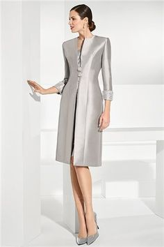 c13fb3cdc646 Silver Lace Mother Of The Bride Dresses With Long Sleeves Satin Jacket  Sheer Jewel Neck Wedding Guest Dress Knee Length Cheap Evening Gowns