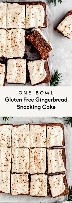 Easy gingerbread cake made in one bowl! This gluten free gingerbread snacking cake is made with oat & almond flour and sweetened with pure maple syrup. Easy Buttercream Frosting, Dairy Free Frosting, Icing, Gluten Free Gingerbread, Gingerbread Cake, Gingerbread Houses, Dairy Free Chocolate Chips, Ginger Molasses Cookies, Gluten Free Oats