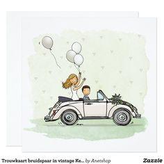 Trouwkaart bruidspaar in vintage Kever cabrio 13,3x13,3 Vierkante Uitnodiging Kaart