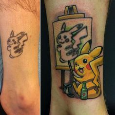 See how this Pokemon tattoo fail got turned into a Pikachu work of art. Flip through the gallery to see other Pokemon tattoos. Pikachu Tattoo, Pikachu Drawing, Nintendo Tattoo, Tattoo Cover, 16 Tattoo, Image Pikachu, Body Art Tattoos, Sleeve Tattoos, Ink Tattoos