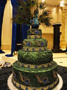 peacock themed cake. intricate design!