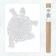 Look at this awesome coloring pages I pinned from Etsy! These make great gifts so save the pin for later ;) --- diamonds turtle coloring poster / giant coloring page / turtle coloring wall art / diy home decor / turtle illustration crystals / gemstones by AnnaGrundulsDesign