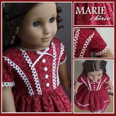"""Civil War style dress made to fit 18"""" American Girl doll"""