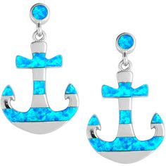 La Preciosa Sterling Silver Blue Opal Anchor Earrings (€35) ❤ liked on Polyvore featuring jewelry, earrings, white, anchor earrings, blue dangle earrings, butterfly dangle earrings, blue earrings and sterling silver earrings