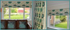 Eyelet curtains and Roman blind in teal floral fabric from Prestige Textiles.