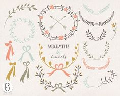 Floral wreaths, laurels, ribbons, clip art, vector, folk flowers, invitation, stationery, adds on