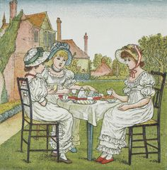 Tea Party Illustration for girls annual publication, by Kate Greenaway