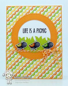 Your Next Stamp - Picnic Phoebe Stamp Set, Chunky Grass Die, Stitched Circle Frame Die Set, Stitched Rectangle Die Set