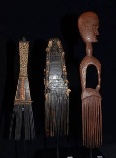 Three Old Hair Combs, Left: Malaita Island, Solomon's, late 19th Century, Middle: Tufi Area Oro Province, late 19th Century, Right: Mainland, New Guinea.