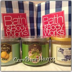 Bath and Body Works 2014 3-wick candles in Lemon Mint Leaf, Snap Peas, and Lavender Vanilla