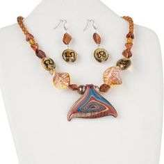 yb 0012 Necklace and earring set, glass and nickel-plated steel, multicolored, 65x35mm fish-tail focal, 18 inches with 2-inch extender chain and lobster claw clasp, steel earwire. Sold per set.