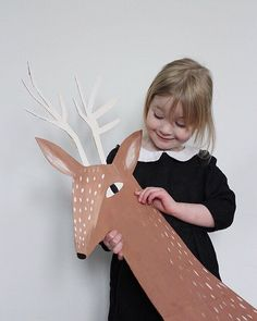 cardboard reindeer, deer, drawing, cute character, design, illustration, large scale, kids
