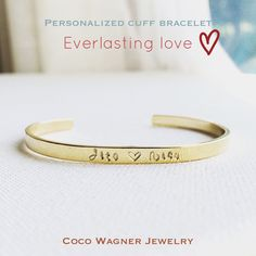 Personalized Cuff Bracelet/Engraved Bangle/Cuff by cocowagner