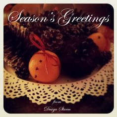 Season's greetings Big And Small, Pine Cones, Seasons, Breakfast, Desserts, Food, Design, Morning Coffee, Tailgate Desserts