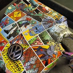 VW Engine Cover hydro dipped in zombie comic pattern by Rade Customs Impression Hydrographique, Hydrographic Dipping, Hydro Printing, Vw Engine, Water Transfer Printing, Hydro Dipping, Airbrush, Quilts, Comics