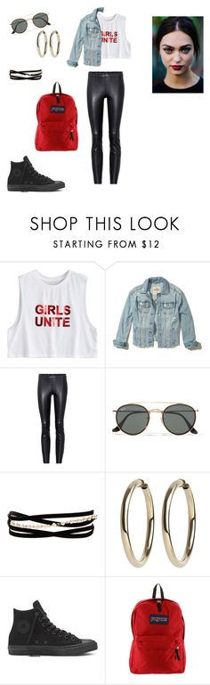 """goth outfit"" by elenatsr on Polyvore featuring Hollister Co., STOULS, Ray-Ban, Kenneth Jay Lane and JanSport"