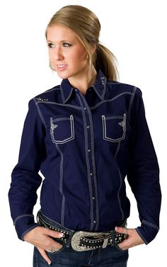 Ariat Women's Rebel Ocean Blue with White Embroidery Long Sleeve Western Shirt