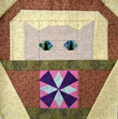 Windmill Cat Quilt Block Pattern by CurlicueCreations on Etsy, $3.00