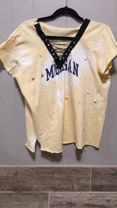 3dda6367 Vintage ripped Michigan T-shirt, custom shirts available Game Day Shirts,  Laced Up