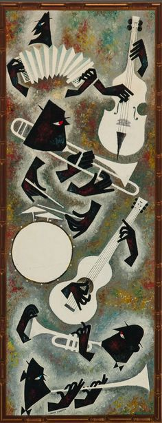 "Fabulous jazz vignette in acrylic on board by Morris Anderson c1950s! Image Sz: 47""H x 17 1/2""W"