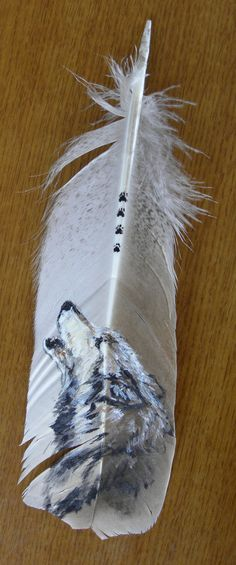 Howling Wolf Hand Painted on Turkey Feather, Framed, via Etsy.