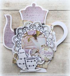 Made by Jolanda Homemade Birthday Cards, Marianne Design, Box, Tea Party, Tea Cups, Decorative Plates, Birthdays, Frame, Art Cards