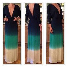 Young Fabulous and Broke Ombre Maxi Talk about a grand entrance (and exit)! Plunging neckline with open back. Slight dolman leaves. Softest modal/spandex jersey composition. Vivid ombre hues. Young Fabulous & Broke Dresses