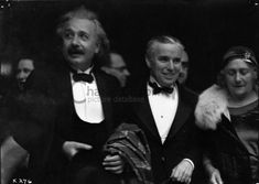 Chaplin with his guests, Mr. and Mrs. Einstein, at the premiere of City Lights in Los Angeles 1931