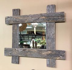 Rustic Pallet Furniture Wood Wall Mirror Rustic Home Decor Barn Wood, Rustic Wood, Rustic Decor, Wood Pallet Furniture, Rustic Furniture, Furniture Ideas, Outdoor Furniture, Modern Furniture, Furniture Design