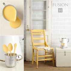 A cheerful warm yellow. So vibrant, yet flexible enough that it can be used with just about any other colour! http://fusionmineralpaint.com/where-to-buy/