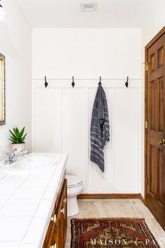 Hall Bathroom, Bathroom Renos, Basement Bathroom, Bathroom Ideas, Hooks In Bathroom, Diy Wall Hooks, Shiplap Bathroom, Simple Bathroom, Board And Batten