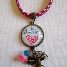 """Collier """"mon amour"""", cabochon bronze, bijou fantaisie"""
