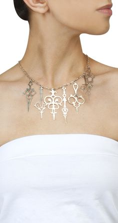 Silver plated Take The Time necklace by EINA AHLUWALIA. Shop at http://www.perniaspopupshop.com/whats-new/eina-ahluwalia-5989