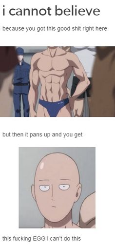 Just put a bag on his head if you can't handle the egg :D |  One Punch Man