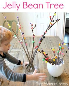 jelly bean tree - this is so fun for the kids to make and looks adorable as a spring decoration! Great education lesson, too!