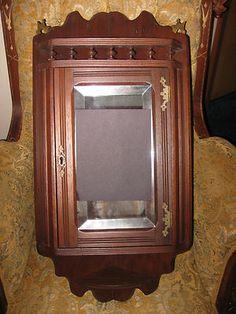 Old Medicine Cabinets | Antique Vintage Victorian Walnut Eastlake Corner Curio Medicine