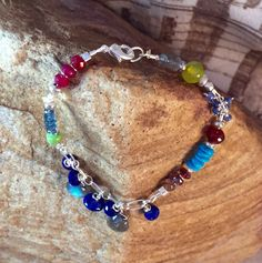 Multitude Bracelet ~ Colorful Gems set on Sterling Silver by CasaDeCastiza on Etsy
