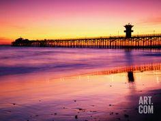 Seal Beach Pier at Sunset, California Photographic Print by Richard Cummins at Art.com