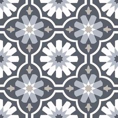Star and clover motifs dazzle in this Moroccan-inspired design. With a cool palette of slate, dark grey, and white hues, these peel and stick tiles have a chic bohemian style. Sevilla Peel and Stick Floor Peel And Stick Floor, Peel And Stick Vinyl, Luxury Vinyl Tile, Luxury Vinyl Plank, Vinyl Tile Flooring, Brick Flooring, Bathroom Flooring, Vinyl Style, Patterned Vinyl
