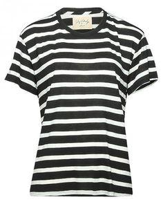 Lily Aldridge for Velvet Gestreiftes Damen T-Shirt Schwarz Weiß