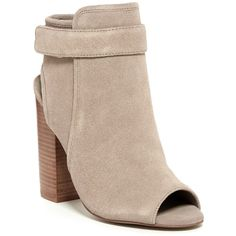 Steve Madden Peta Open Toe Bootie ($90) ❤ liked on Polyvore featuring shoes, boots, ankle booties, ankle boots, taupe sued, open toe ankle booties, open toe booties, open toe ankle boots, high heel booties and open toe bootie