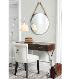 DIPRE Round Wall Mirror with leather strap
