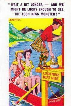 Wait a bit longer and we might be lucky enough to see the Loch Ness Monster Adult Cartoons, Sexy Cartoons, Adult Humor, Funniest Cartoons, Humor Satirico, Golf Humor, Funny Postcards, Old Postcards, Old Comics