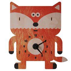 Modern Moose Sly Fox 3D Wall/Shelf Clock orange OS