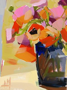 Ranunculus in Blue Vase original still life floral oil painting by Angela Moulton