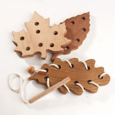 Wooden Lacing Toy Threading Toy Leaf Fall Fine Motor Skills Toy Educational Wooden Toy Montessori Eco Friendly Organic Handmade Toys for Kid (29.50 USD) by WoodenCaterpillar