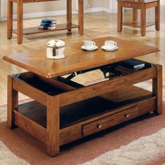 Steve Silver Nelson Rectangular Lift-Top Cherry or Oak Coffee Table with Casters - Oak by Steve Silver Company. $304.00. 1 drawer and open shelf for additional storage. Lift-top coffee table with 2 hidden storage areas. Inviting oak finish with silvertone hardware. Constructed of durable hardwood solids. Dimensions: 46W x 26D x 18H inches. Bring style and function into your home with the Nelson collection. This collection features a lift top cocktail table with casters, drawers...